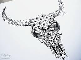 lace bull skull tattoo