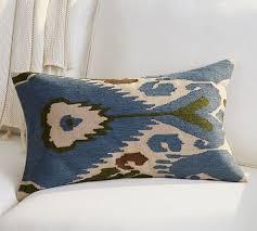 Pottery Barn Lumbar Pillow Covers Ikat Embroidered Lumbar Pillow Cover Pottery Barn House Ideas