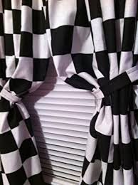 Black And White Checkered Curtains 2 Window Curtain Panels Made From Cotton Nascar Race