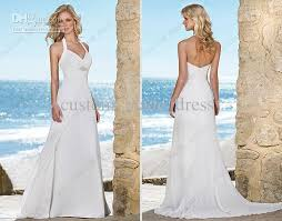halter wedding dresses discount summer white halter wedding dress empire waist beaded