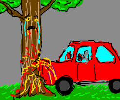 car crashes into tree u0026 now the tree is sad drawing by