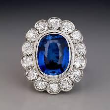 antique rings sapphire images Antique sapphire diamond cluster engagement ring in platinum jpg