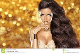 fashion brunette with long wavy hair beauty makeup luxury