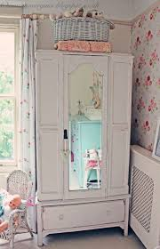 shabby chic vintage wardrobe with mirror in child u0027s room painted
