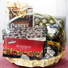 chocolate gifts delivery singapore in a beautiful chocolate gift basket containing almonds and chocolate
