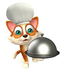 cloche de cuisine cat character with chef hat and cloche stock illustration