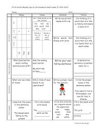 first grade weely khomework printables spiral la homework first