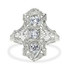 art deco hand ring holder images Art deco diamond ring three stone old european cut diamonds jpg