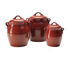 19 red kitchen canisters set of three ceramic kitchen