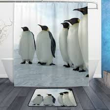 Animal Shower Curtains Sea Animal Shower Curtain And Mat Set Black And White Penguins