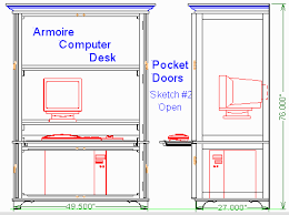 Computer Armoire With Pocket Doors Woodware Pocket Door Armoire Computer Desk