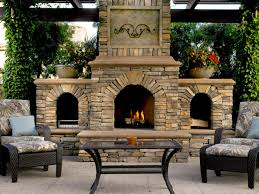 natural beauty outdoor fireplace design with beautiful stone