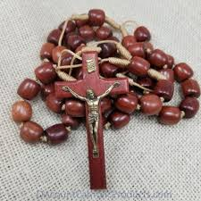wall rosary brown wood bead wall rosary