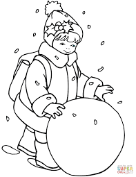 little rolling a snowball coloring page free printable