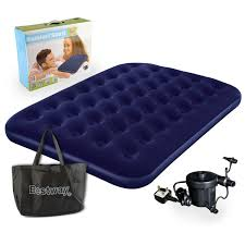 Cheap Blow Up Beds Bestway Comfort Quest Double Flocked Air Bed With Pump Amazon Co