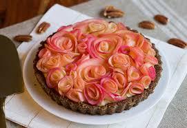 apple custard rose tart diamond nuts