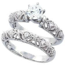 womens engagement rings sterling silver wedding ring set cz engagement