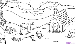 how to draw a graveyard step by step halloween seasonal free