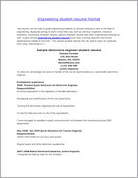 Resume Format For Electronics Engineering Student Cover Letter Students Resume Format Student Resume Format Word