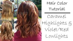fall hair color tutorial caramel blonde highlights u0026 violet red