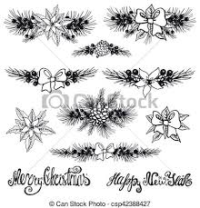 vector illustration of christmas borders fir tree branches flowers