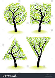 artistic ornamental trees vector design elements stock vector