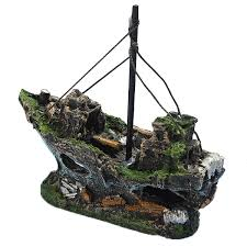 resin fishing boat aquarium ornament decoration for fish tank us