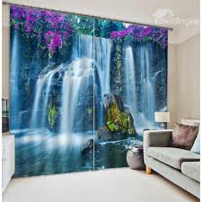 Wallpaper And Curtain Sets 3d Wonderful Waterfalls With Purple Flowers Printed Natural