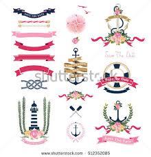 nautical wedding theme floral anchor ornaments stock vector