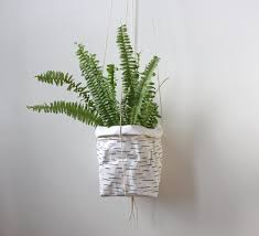 hanging planter wall hanger birch design washable paper