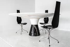 marble base table l demarco dining table with solid hewn white marble top and black