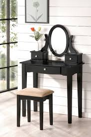 Makeup Stool Furniture Black Wooden Makeup Vanity With Drawers And Round