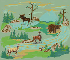 paint by number woodland animals wallpaper hollycejeffriess