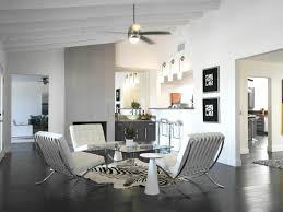 white wall zebra rug retro modern wet bar side table vaulted