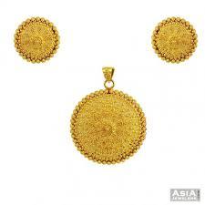 earrings gold design gold pendant set classic design ajps55343 22k gold pendant