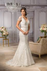 wedding wishes dresses t182008 v neck embroidery lace wedding dress with cap sleeves