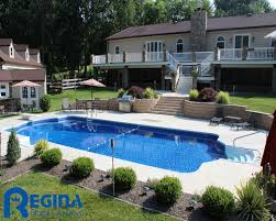 roman shaped vinyl liner swimming pool located in glen arm md