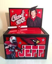 unique graduation card boxes grad box with grad year name of grad and school emblem
