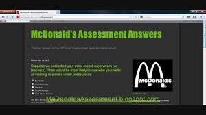 mcdonalds assessment answers youtube