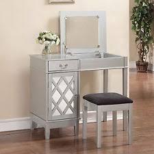 Silver Vanity Chair Linon Lattice Vanity Set In Silver Finish Ebay