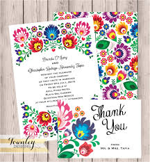 Invitation With Rsvp Card Floral Folk Fiesta Wedding Invitation Fiesta Wedding
