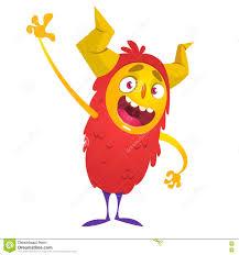 cute cartoon monster halloween vector red monster stock