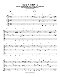 he u0027s a pirate sheet music by klaus badelt guitar ensemble u2013 165771