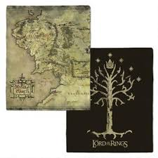 the lord of the rings middle earth map and tree of gondor fleece