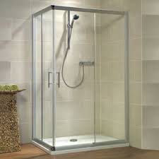 glass shower cubicle corner with sliding door kristall trend