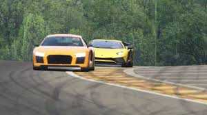 lamborghini replica vs real battle audi r8 v10 plus vs lamborghini aventador sv racing at spa