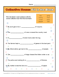 collective noun worksheets fill in the blank