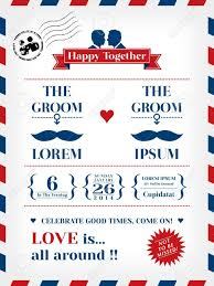 wedding invitation template in postcard and air mail style royalty