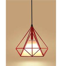 Suspension Luminaire Rouge by Stoex Suspension Forme Diamant Contemporain E27 Corde Ajustable