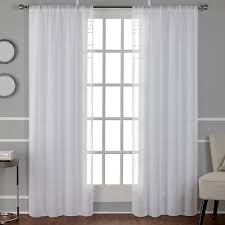 Winter Window Curtains Davos Winter White Puff Embellished Belgian Linen Sheer Rod Pocket